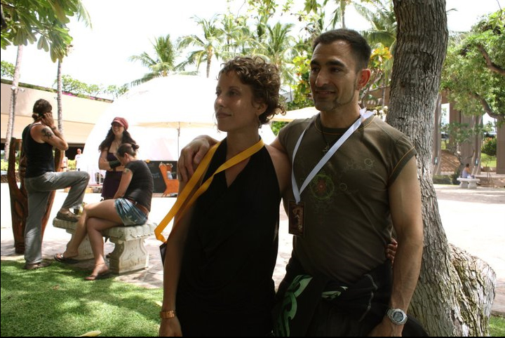 Autumn Skye Morrison and I at posing for press at Alchemeyez Visionary Art Conference in Hawaii