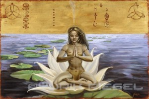 woman meditation on a lotus blossom with gold background